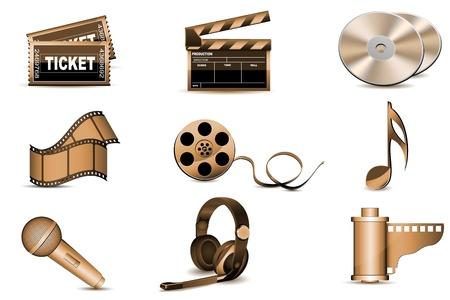 illustratie van entertainment pictogrammen op witte achtergrond