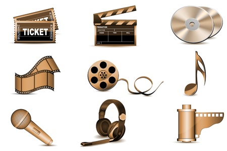 clapperboard: illustration of entertainment icons on white background