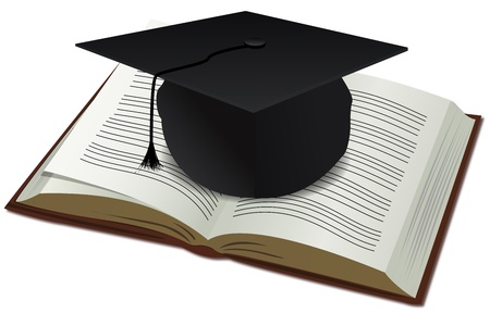 academic symbol: illustration of doctorate cap with book on white background