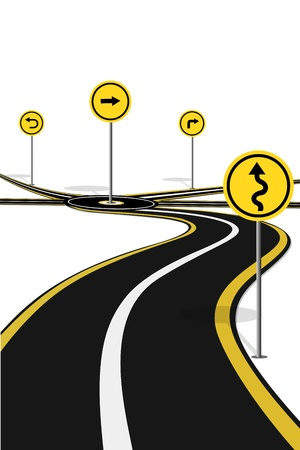 lane lines: illustration of highway with road sign on white background