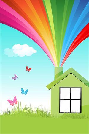 kassen: illustratie van kleurrijke natuurlijk thuis Stock Illustratie
