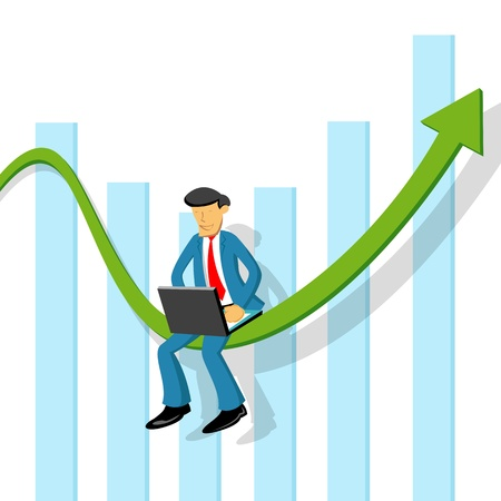 illustration of business man with graph and laptop Vector