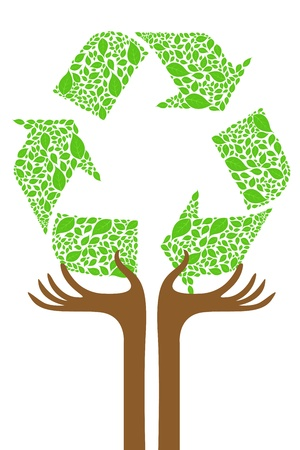 recycle tree: illustration of recycle tree on white background