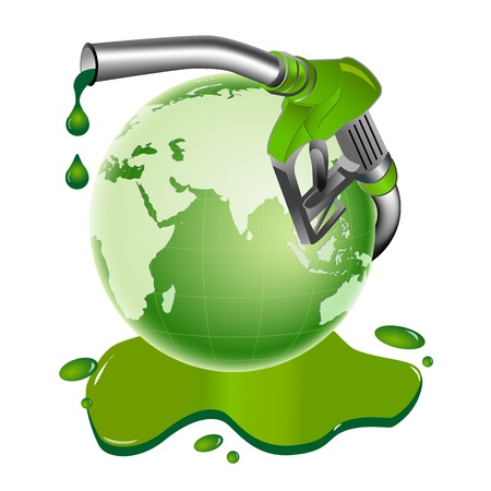 fuelling station: Ilustración de bio diesel tambor sobre fondo blanco