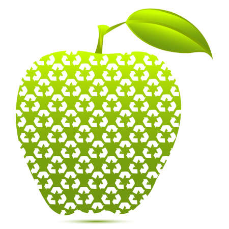 illustration of recycle apple on white background Vector