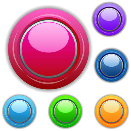 illustration of multicolored buttons on white background Stock Vector - 8302708