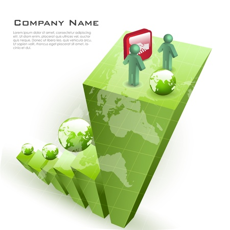 client meeting: illustration of business card with globe on white background