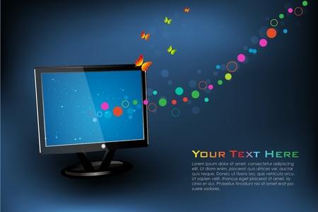Illustration de la tv avec des papillons