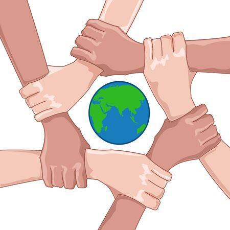 cooperativa: Ilustraci�n de guardar la tierra con globo y manos sobre fondo blanco