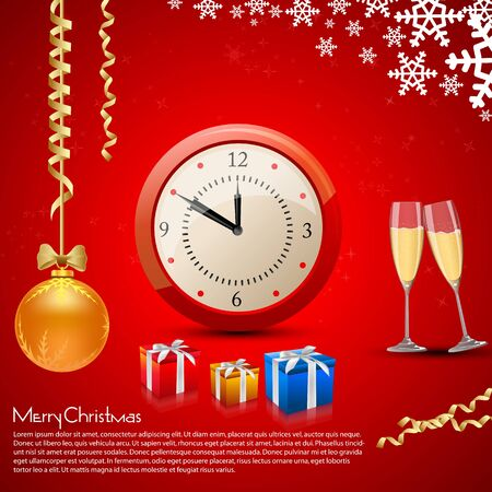 illustration of christmas card with champagne,present,ball and watch Stock Vector - 8302942