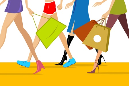 shopping trip: illustration of corporate world with bag Illustration