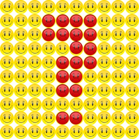 illustration of question mark with happy and sad expression Vector