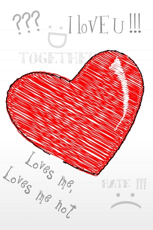 illustration of sketch heart on white background