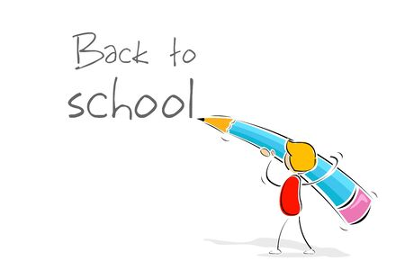 schoolchild: illustration of back to school with colorful pencil on white background Illustration