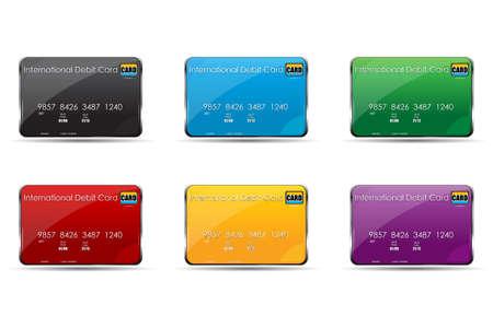 debit cards: illustration of colorful international debit cards on white background