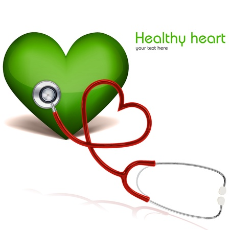illustration of healthy heart with stethoscope on white background