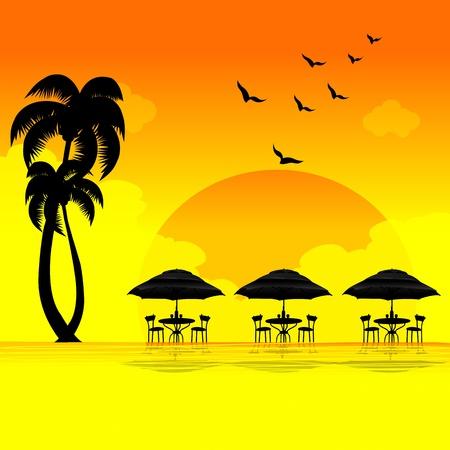 illustration of sun set on beach Stock Illustration - 8303051