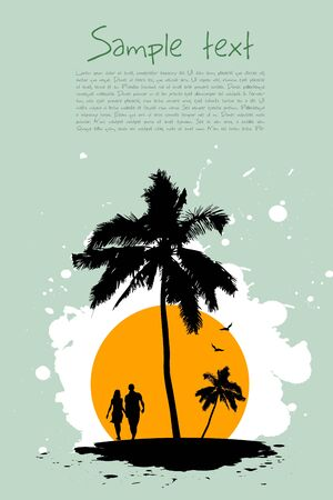 illustration of beach card with tree  and sunset on sea beach Vector