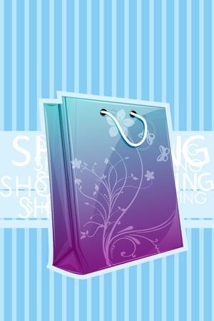 illustration of floral shopping bag on white background Vector