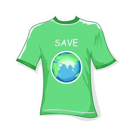 ozone friendly: illustration of save earth t shirt on white background Illustration