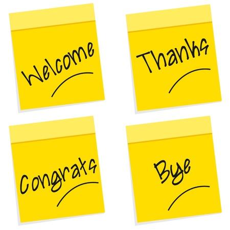 manner: illustration of greetings on sticky notes on white background Illustration