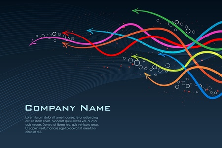 illustration of colorful business card with growing arrow Vector