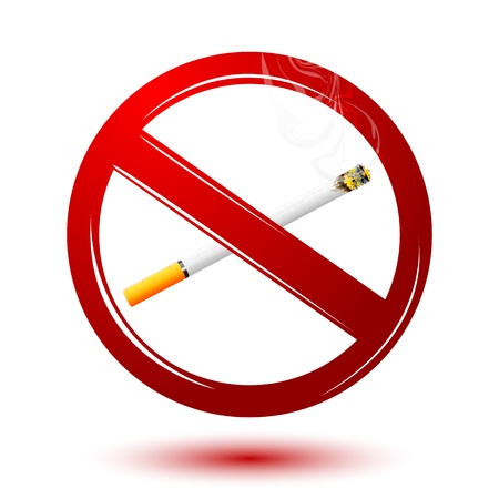illustration of no smoking with cigarette on white background Vector
