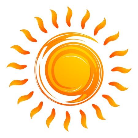 Ilustración del calentamiento sol sobre fondo blanco Ilustración de vector