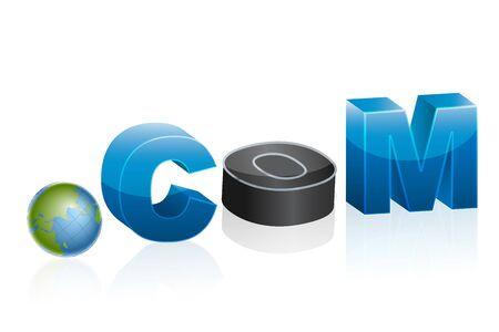 dot com: illustration of dot com icon with globe on white background