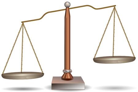 ethics: illustration of retro beam balance on white background Stock Photo