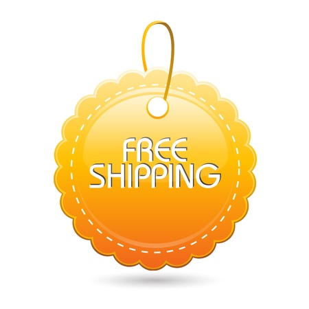 free background: illustration of free shipping tag on white background