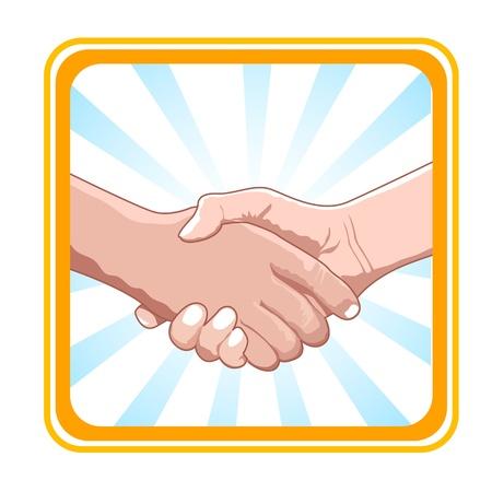 manos unidas: Ilustraci�n de negocio tratar sobre fondo blanco