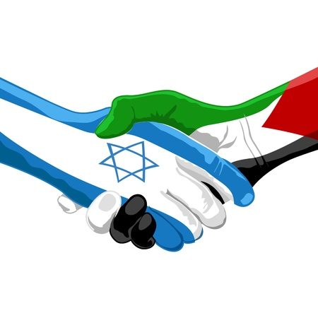 protest signs: illustration of peace between israel and palestine on white background Illustration