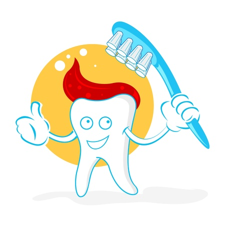 illustration of happy teeth with brush on white background Vector