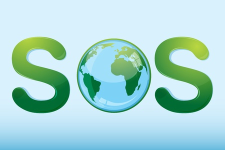 illustration of sos with globe on white background Vector