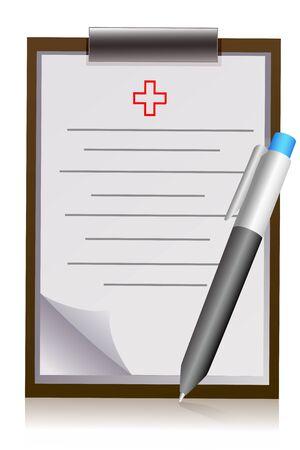 Illustration du pad de lettre du médecin avec stylo sur fond blanc