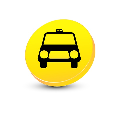 illustration of taxi on the way on white background Vector