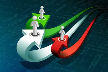 stakeholder: illustration of business peoples on growth arrow