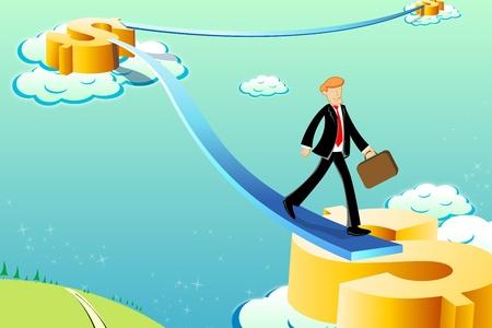Illustration of Business Man auf Dollar Weg