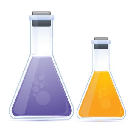 drug discovery: illustrazione del chimico colorata nel pallone su sfondo bianco Vettoriali
