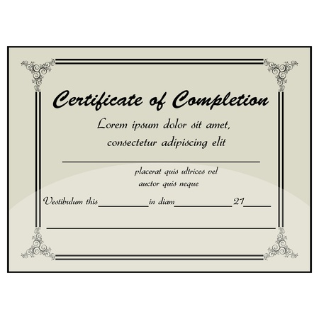 illustration of completion certificate Stock Vector - 8373436