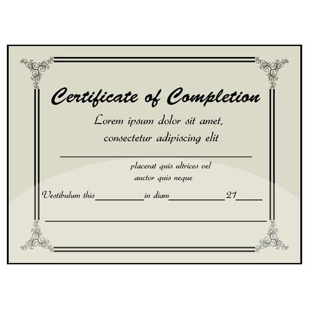 academy awards: illustration of completion certificate Illustration