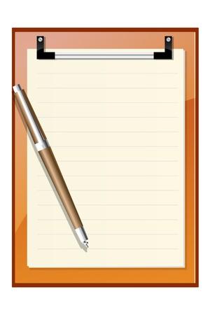 illustration of letterpad with ballpen on white background Stock Vector - 8373419