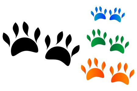 illustration of colored animal's paw on white background Stock Vector - 8373331