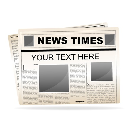 Ilustración de papel de noticias sobre fondo blanco