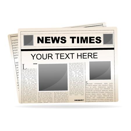 peri�dico: Ilustraci�n de papel de noticias sobre fondo blanco