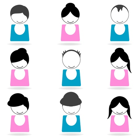 illustration of hair styles on white background Vector