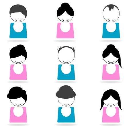 illustration of hair styles on white background