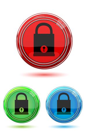 illustration of colorful lock pad buttons on white background Vector