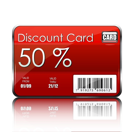 sold: illustration of discount card on white background